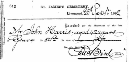 Receipt for Interment of John Harris