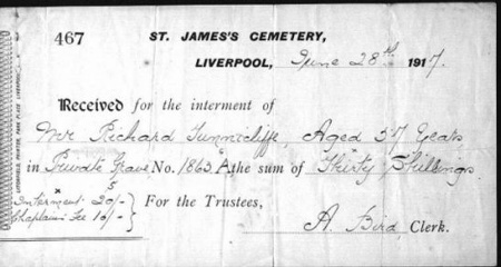 Receipt for Interment of Richard Tunnicliffe